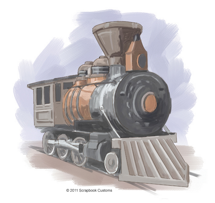 Old Train Engine Drawing