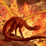 Dragon Fire Volcano Lava Fantasy Art Painting Illustration