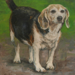 Oil Painting Beagle Dog Portrait